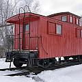 Railroad Train Red Caboose by Randall Nyhof