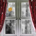 Rain On A Window With Curtains by Simon Bratt Photography LRPS