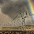 Rainbow Forms Over Powerlines by Colin Monteath