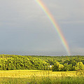 Rainbow Over Hay Field In Maine by Keith Webber Jr