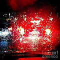 Rainy Window - Red Abstract by Matthias Hauser