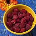 Raspberries In Yellow Bowl by Garry Gay