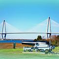 Ravanel Bridge At Patriot Point Charleston Sc by Susanne Van Hulst