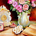 Red And Pink Roses And Daisies - The Doves Of Peace-angels And The Bible by Carole Spandau