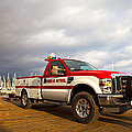 Red And White Harbor Patrol Vehicle by David Buffington