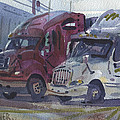 Red And White Trucks by Donald Maier