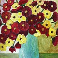 Red And Yellow Bouquet In Blue by Christy Saunders Church