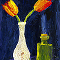Red And Yellow Tulips In Vase Abstract Palette Knife Painting by Keith Webber Jr
