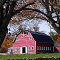 Red Barn In Autumn by Mike Nellums