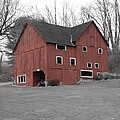 Red Barn In Black And White by Randy Edwards