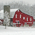 Red Barn In Heavy Snow by Jack Schultz