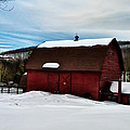 Red Barn In The Snow by Bill Cannon