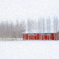 Red Barn In Winter by Ari Salmela