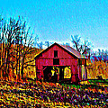 Red Barn On A Hillside by Bill Cannon