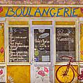 Red Bike At The Boulangerie by Debra and Dave Vanderlaan