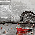 Red Boat In The Harbor At Vernazza by Greg Matchick
