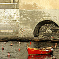 Red Boat In Vernazza Harbor On The Cinque Terre by Greg Matchick