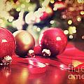 Red Christmas Ornaments With Vintage Look  by Sandra Cunningham