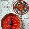 Red Compass And Rose Compass by Garry Gay