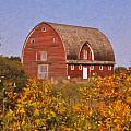 Red Fall Barn by Roger Bee