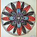 Red Flower Mandala  by Gladys Childers