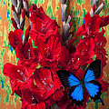 Red Gladiolus And Blue Butterfly by Garry Gay