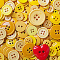 Red Heart And Yellow Buttons by Garry Gay
