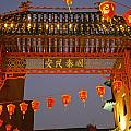 Red Lanterns And Gate On Gerrard Street by Axiom Photographic