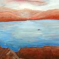 Red Leaf In Lake Juliette by Lugenia Dixon