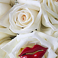 Red Lips And White Roses by Garry Gay