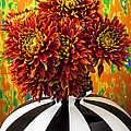 Red Mums In Striped Vase by Garry Gay