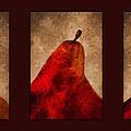Red Pear Triptych by Carol Leigh