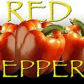 Red Peppers On White And Black by Randall Nyhof
