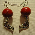 Red Rocker French Horn Earrings by Jenna Green