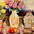 Red Roses Yellow Daffodils In Hand Painted Oriental Antique Vases With Fruit Plate Doves And Angels by Carole Spandau