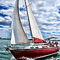 Red Sailboat Green Sea Blue Sky by Elaine Plesser