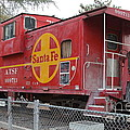 Red Sante Fe Caboose Train . 7d10325 by Wingsdomain Art and Photography