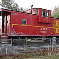 Red Sante Fe Caboose Train . 7d10329 by Wingsdomain Art and Photography