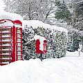 Red Telephone And Post Box In The Snow by Richard Thomas