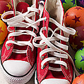 Red Tennis Shoes And Balls by Garry Gay