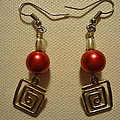 Red Twisted Square Earrings by Jenna Green
