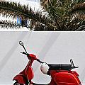 Red Vespa By Wall by Sami Sarkis