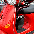 Red Vespa Vintage Scooter Motorcycle by Terry Fleckney