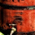 Red Weathered Wooden Bucket by Paul Ward