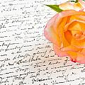 Red Yellow Rose Over A Hand Written Love Letter by U Schade