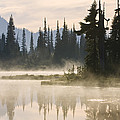Reflection Lake With Mist, Mount by Konrad Wothe