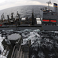 Replenishment At Sea Between Usns by Stocktrek Images