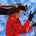 Researcher Wearing Virtual Reality Headset by Nasa