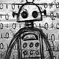 Robot Graffiti 2 Of 6 by Roseanne Jones