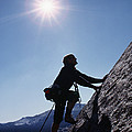 Rock Climber On Polly Dome Above Lake by Gordon Wiltsie